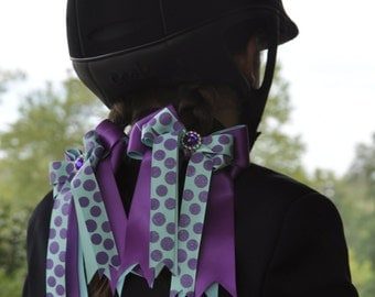 Bows for Horse Shows/Purple Blue Girl Equestrian Clothing