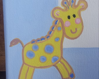 Baby Boy Birth Record Giraffe  and Blue Frame Custom Made Nursery Art with Baby's Name, Weight, and Birthday