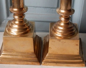 Tall Federal Style Heavy Brass Candle Holders!