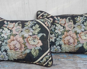 Pair of Vintage Black Floral Pillows!
