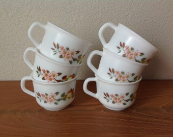 Lot 6 cups to coffee arcopal FRANCE Vintage