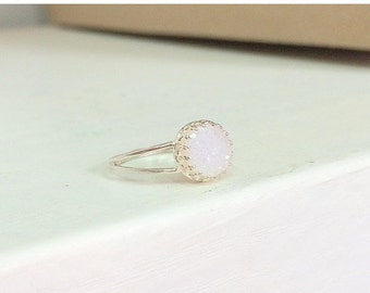 SALE - Druzy ring - White druzy ring - Druzy silver ring - druzy gold ring - Gemstone ring - Druzy jewelry - Mother Day gift - Semi precious