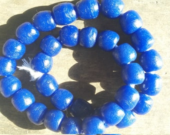 """African recycled glass beads, (13/14 mm diam.) 1 strand, 16"""", 32 beads, cobalt blue, opaque"""