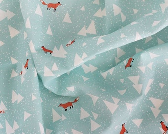 Little Fox Mint Color Oxford Fabric by Yard