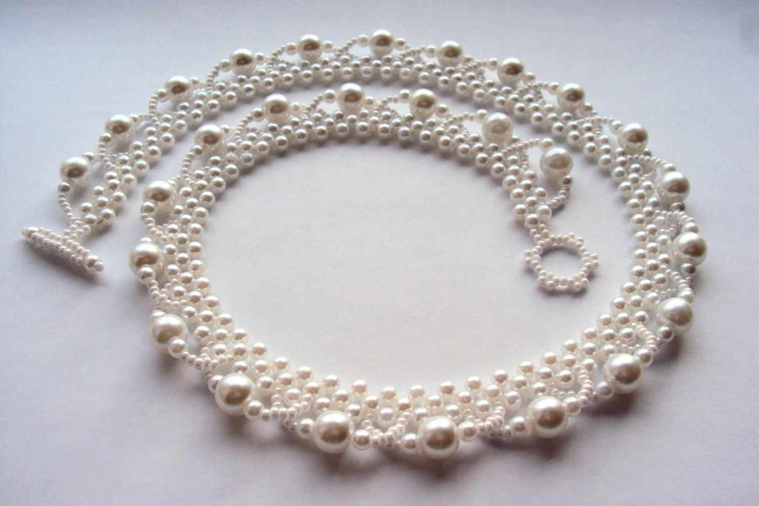 Beaded Embroidery Necklace White Pearl Necklace Handmade