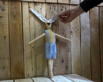 Plush Rabbit Toy / Cloth Stuffed Bunny Rag Doll / Child Friendly / Kids Room Decor / Bunny Boy Girl Toy / Handmade Rabbit / Birthday Gift