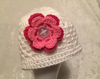 White Crocheted Hat with Exchangeable Pink Flower