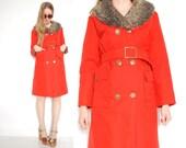 vintage 70s coat orange canvas faux fur brass buttons printed lining hippie boho coat jacket 1970s 70s clothing M L