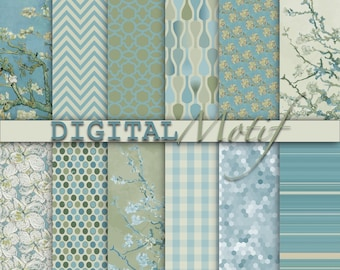 Blue Digital Paper Pack, Almond Blossom, Instant Download, Printable Van Gogh Inspired Decoupage & Scrapbook Paper - VGAB