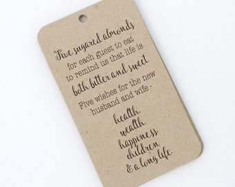 Jordan Almond Tags, Five Wishes Tags, Five Sugared Almonds Quote on Kraft Tags, Wedding Favor Tags (RBC-122-KR)