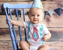 First Birthday Boy Chevron bodysuit - Baby boy first birthday - Smash cake outfit - Baby boy party outfit - First birthday outfit boy