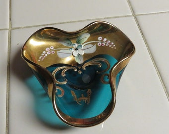 Beautiful Vintage Bohemian Hand Painted Candy Dish