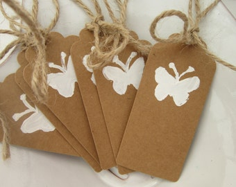 Rustic, Butterfly Tags, handpainted, set of 6 or 12, birthday tags, wedding tags, baptism tags, favor tags, gift tags, bridesmaid tags