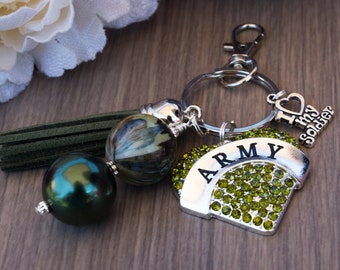 Army Key Chain, I Love My Soldier Key Chain, Military Wife Gift, Army Wife Gift
