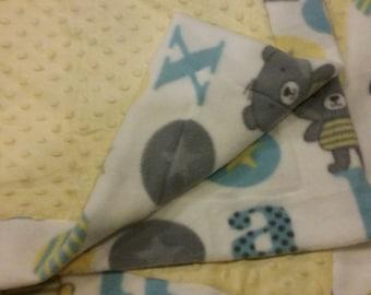 Fleece and Minky Baby Blanket Neutral