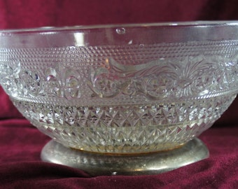 Clear Glass Vintage  Antique Large Bowl With Brass Footed Bottom