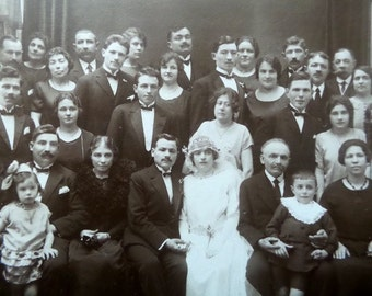 Antique French XL real wedding photo . Family portrait for wedding.