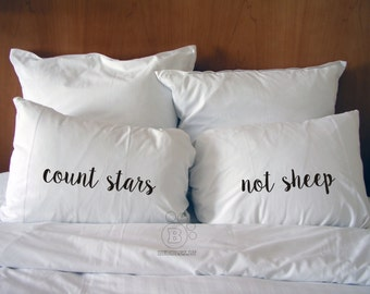 Handmade Printed Cotton Pillow Covers - Count Stars - Not Sheep - Cotton Bedding - Perfect Gift