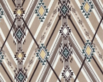 Anti-Pill Navajo Neutral Brown Fleece Fabric Sold by the Yard