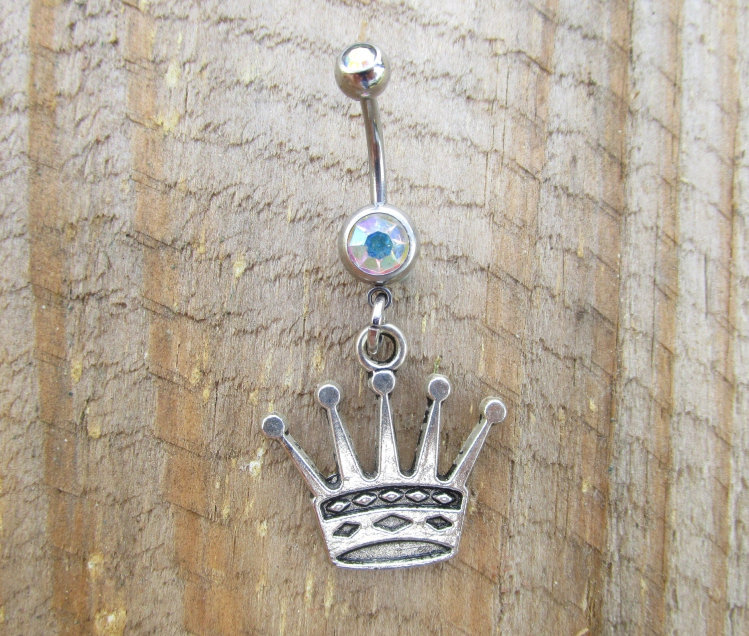 crown belly button ring princess navel ring by thecharmedbelly