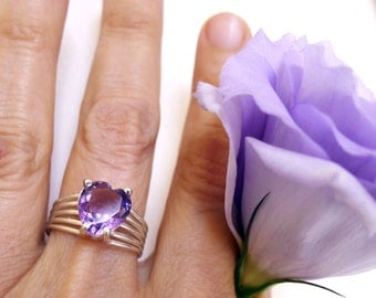 Amethyst Heart Ring, Genuine Faceted Amethyst Violet Lilac Purple, Sterling Silver Ring, Size 7 1/2