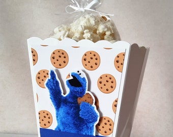 Cookie Monster Popcorn Boxes 10 CT, Party Favors, Cookie Monster Inspired Decoration.