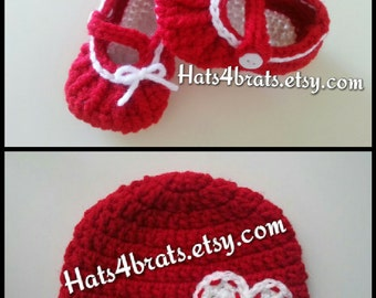 Baby Girl Hat and Booties Set, Mary Jane Booties, Newborn Photo Props, Baby Shower Gift, Baby Girl Photo Prop, Valentines Day Photo Props