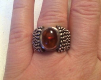 Vintage baltic amber sterling ring