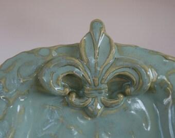 Green Rectangle Fleur de Lis Ceramic Platter