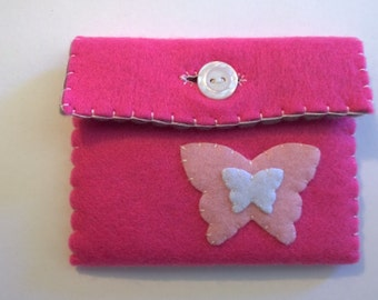Handmade mid pink butterfly purse