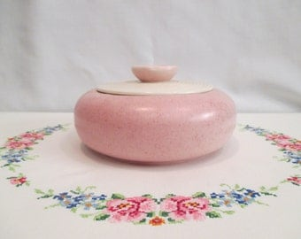 Mid Century Modern Pink A.C. Davey California Pottery Casserole Dish with Lid