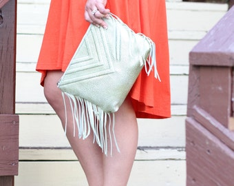 Metallic Clutch - Pebble Leather with Fringe Details