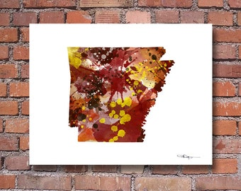 Arkansas Map - Abstract Watercolor Art Print - Wall Decor
