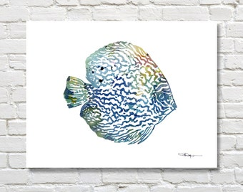 Discus Art Print - Abstract Tropical Fish Watercolor Painting - Wall Decor