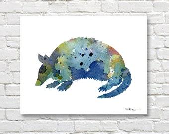 Blue Armadillo Art Print - Abstract Watercolor Painting - Wall Decor