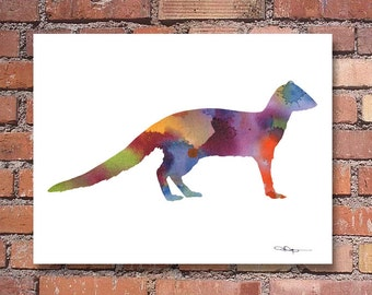 Mongoose Art Print - Abstract Watercolor Painting - Wall Decor