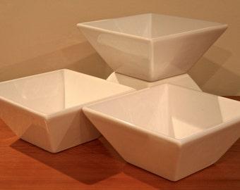 4 CB2 White Ceramic Bowls
