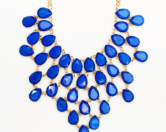 Harlow Cobalt Beaded Necklace & Earring Set