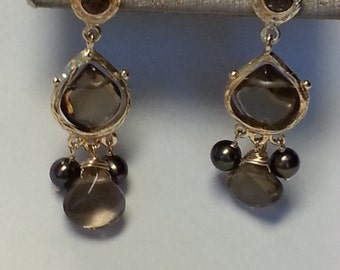 "signed ""Tallisman"" hand made gold and black pearls and Smokey Quartz Earrings"