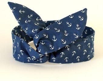 Nautical Blue Anchor Dolly Bow Headband, Wire hairband, Rockabilly, Holiday Headband, Summer Headband, Nautical Headband, Blue Headband