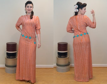 1970s Vintage Dress - Rayon Metallic Disco Dress - Shimmering Fun