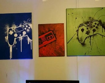 """Set of three (3) Controller Canvases 11""""x14"""""""