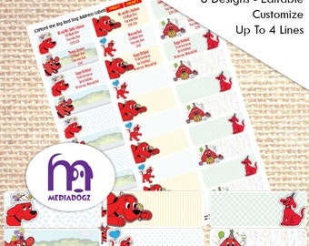 Clifford the Big Red Dog Mailing Labels Return Address Label Instant Download You Print Children Fun Birthday Shipping Labels