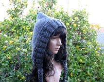 Knit grey hood, chunky knit hood, grey pixie hood, unique winter accessory, grey loose fit hat, cosplay hood, fairytale grey knit hood