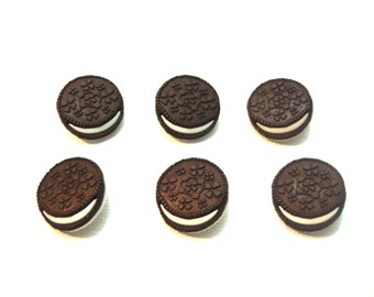 Oreo Cookie Embellishment Miniatures 1:6 Scale Set of 6 Flat Back - 251