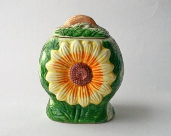 Art Pottery Sunflower Lidded Pot. Van Gogh Sunflowers