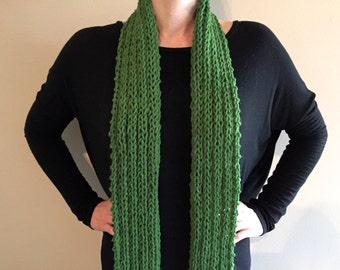 Handknit Loosely Knit Long Skinny Scarf // Green