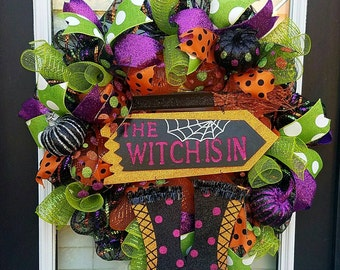 SALE~Wicked Witch Halloween Wreath, The Witch is In Wreath, Deco Mesh Halloween Wreath, Halloween Wreaths, Witch Door Wreath
