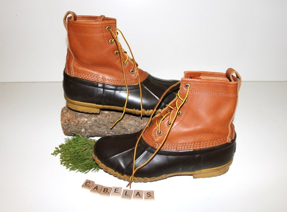 vintage cabela s duck boots leather and rubber chore
