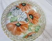 Poppy Plate, Porcelain Ceramic Pottery, Home Decor, Wall Hanging, hand painted Kiln Fired